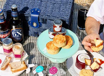 A picnic of the Savoury Hamper ingredients from www.englishcreamtea.com