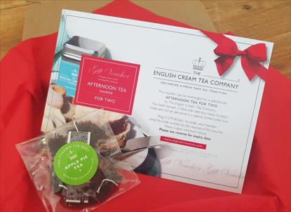 Image of gift voucher sent out with tea in a postable box