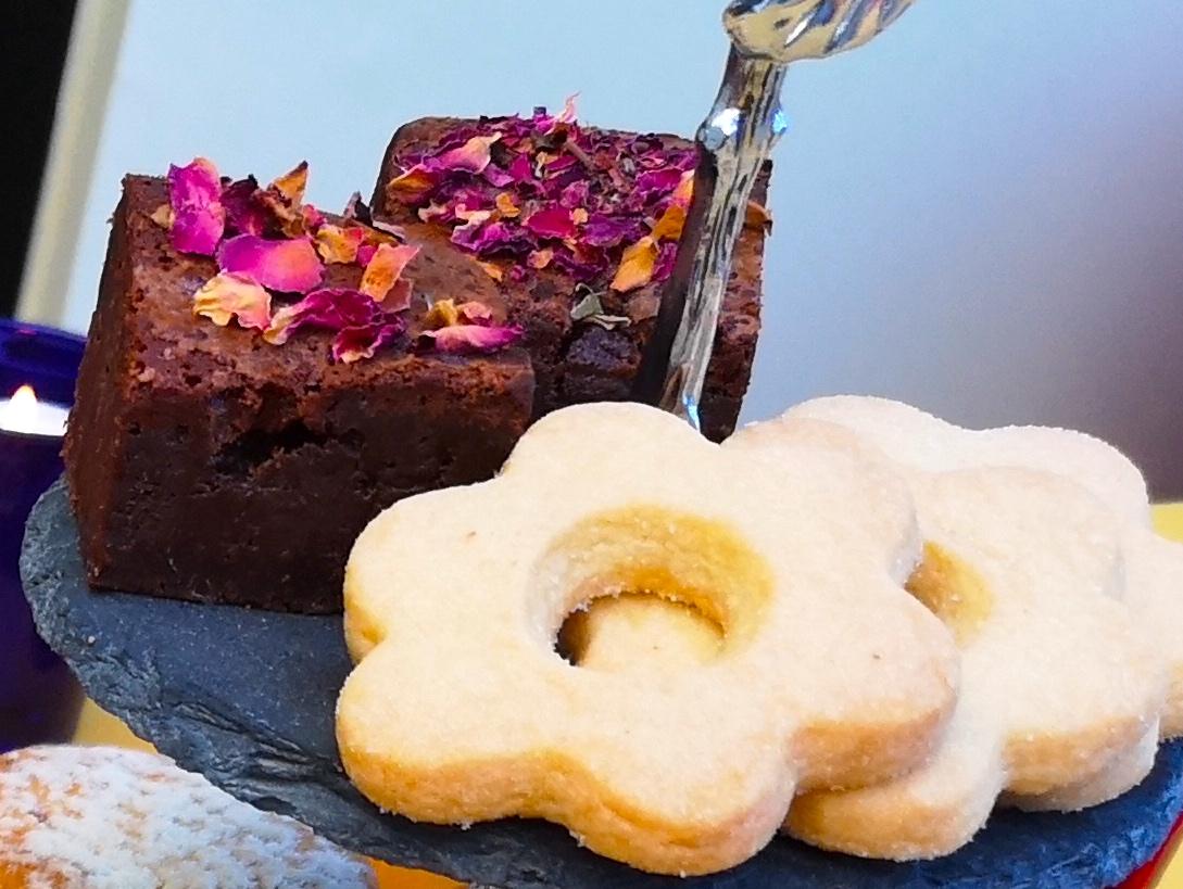 Rose Brownies and Cardamom Shortbread Flowers