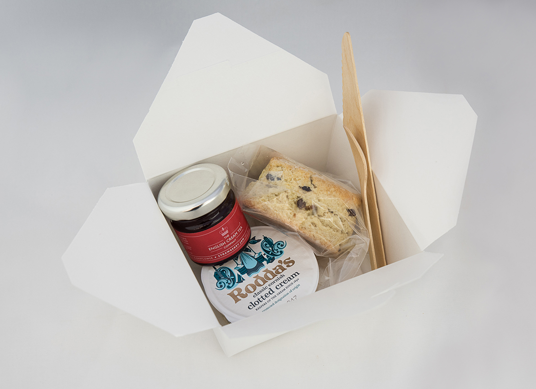 Mini boxes of individual Cream Teas delivered to your event
